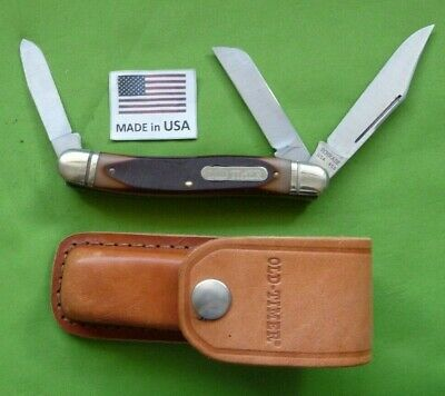 """Schrade made in the USA 858OT Old Timer """"Lumberjack"""" Large Stockman with Sheath."""