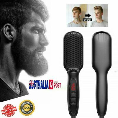 Quick Beard Straightener Multifunctional Hair Comb Curler For Man + Disp OD