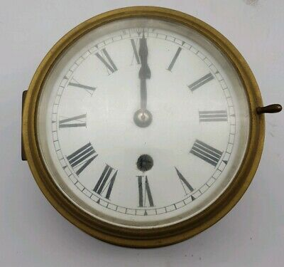 Antique Ships Marine Bulkhead Bulk Head Brass Cased Ships Clock ENAMEL DIAL