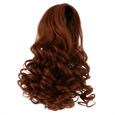 28cm Trendy Long Wavy Wig Centre Parting Hair for 18'' American Doll Brown