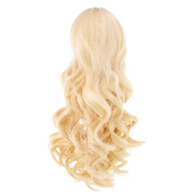 28cm Long Wavy Wig Haircut for 18inch American Doll DIY Accessory Light Gold