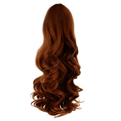 30cm Long Wavy Wig Haircut for 18inch American Doll DIY Accessory Red Brown