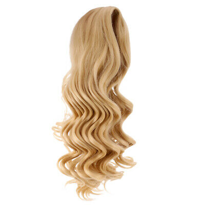 35cm Long Wavy Wig Haircut for 18inch American Doll DIY Accessory Light Gold