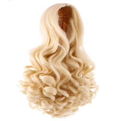 25cm Long Wavy Wig Haircut for 18inch American Doll DIY Accessory Light Gold