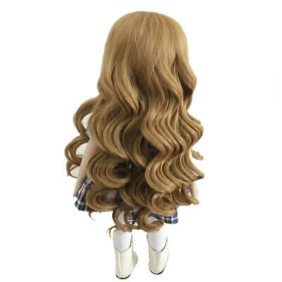 26cm Long Wavy Wig Haircut for 18inch American Doll DIY Accessory Khaki