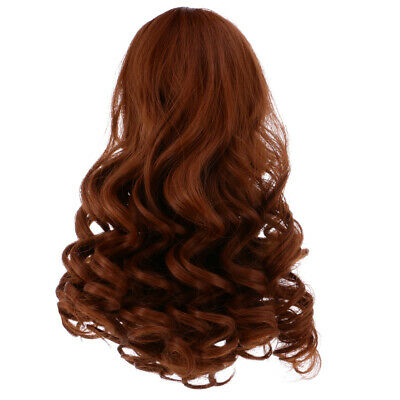 28cm Long Wavy Wig Haircut for 18inch American Doll DIY Accessory Brown
