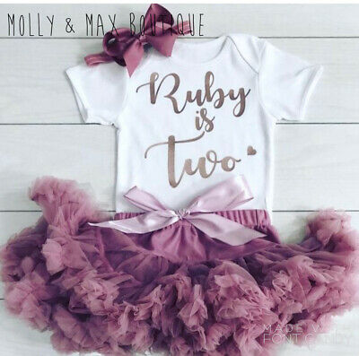 Girls 2nd Second Birthday Set Outfit Tutu Skirt Party Personalised Rose Gold Bow