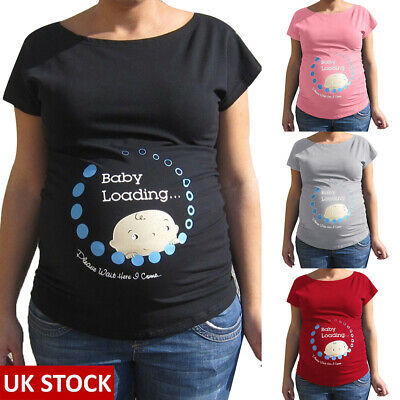 Baby Loading-Adorable Slogan Cotton Printed Maternity Pregnancy Top T-shirt Tee