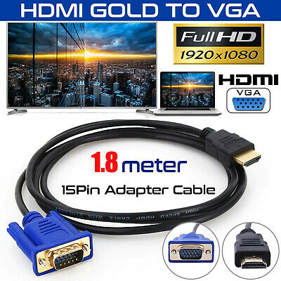 1.8M HDMI Male to VGA Male Video Converter Adapter Cable Cord 1080P HDTV UK