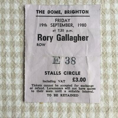 Rory Gallagher ticket The Dome Brighton 19-09-80 Stagestruck tour