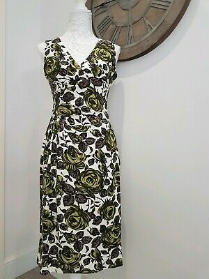 Phase Eight Green & White Rose Print Stretchy Wiggle Ruched Evening Tea Dress 12