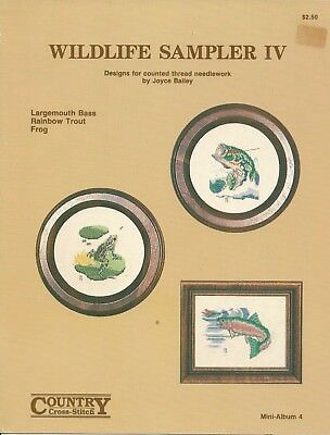 Wildlife Sampler IV 1978 Vintage Counted Cross Stitch Pattern by Joyce Bailey