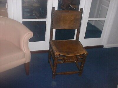 17th century walnut spanish side chair jointed leather a wood.