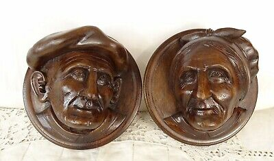 Antique French Hand Carved Walnut Wood Pair Medallion Plaque Face Figure -signed