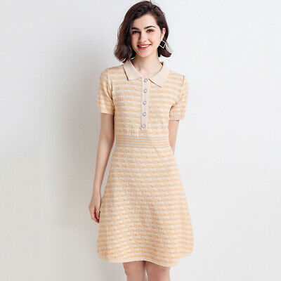 Womens Dress Ladies Work Summer Striped Fashion Party Short Sleeves Casual