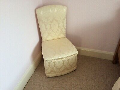 Bedroom/Boudoir Chair in Cream Ivory Damask fabric