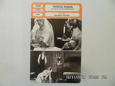 CARTE FICHE CINEMA 1928 THERESE RAQUIN Gina Manes Wolfgang Zilzer