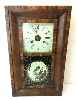 Antique EN Welch MFG Co Forestville Brass Wood 30 HR Wall Clock Parts Ogee Style