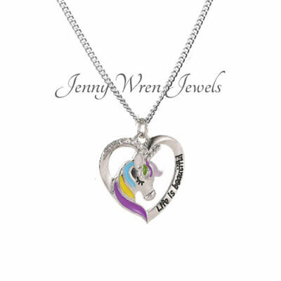 CHILDREN's Jewellery UNICORN Necklace & Sterling Silver Chain Life is Beautiful