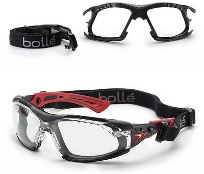 Bolle RUSH+ PLUS Safety Glasses & RUSHKITFS Foam And Strap Kit - Various Lens