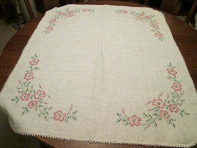 (M) Vintage Off-White Hand Embroidered & Crocheted Card Tablecloth, 42 x 36""