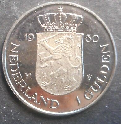 Netherlands 1980 Investiture of New Queen  Prooflike 1 Gulden Coin  Nice