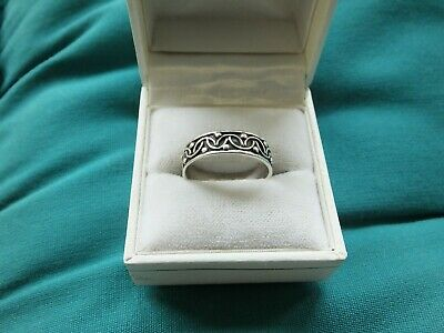 925 Sterling Silver Scrollwork Band Ring - Size O 1/2 - VGC