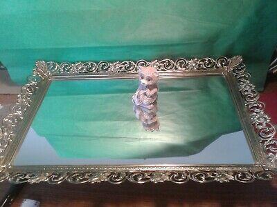 Vintage Gold with White Overlay Filigree Vanity Dresser Tray Mirror 10 x 15