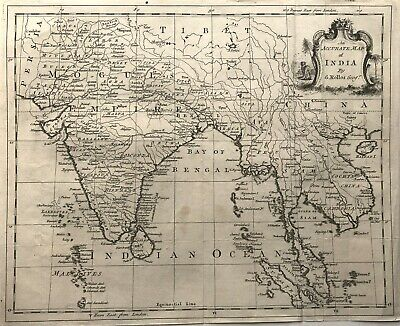 100% Original Map of INDIA c1764 by Geo Rollos Geographer, fine detail engraved