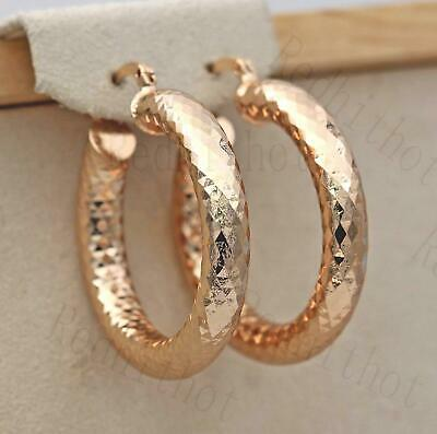 18K Gold Filled Earrings Big Round Carving Rhombus Luxury Fashion Hoop Party SW
