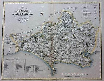 Rare Antique Map of DORSETSHIRE c1838 by Ebden & J Duncan, Original Scarce HCol
