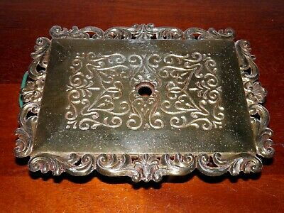 "Vintage, ornate, brass plated cast metal, light fixture back plate. PART 7""x5.5"""