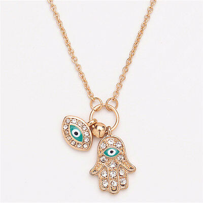 Fatima Hamsa Hand Turkey Blue Evil Eye Necklace Charm Pendant Jewish Jewelry FD