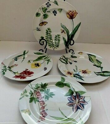 Set of 4 ENGLISH FLORAL by Spode for Williams-Sonoma Salad/Dessert Plates NEW