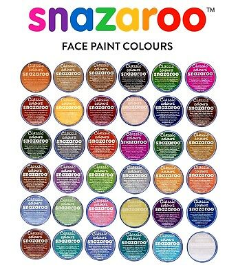 18ml SNAZAROO FACE BODY PAINTS MAKE UP STAGE FANCY DRESS 36 COLOURS ~ Fast Disp