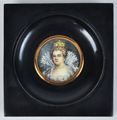 Antique Portrait Miniature Hand Painted Queen Royalty Painting in Convex Frame