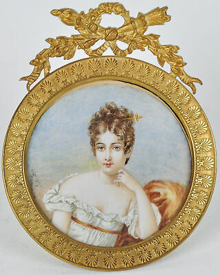 Very Fine Portrait Miniature Painting in Gilt Dore Frame Empire Madame Recamier