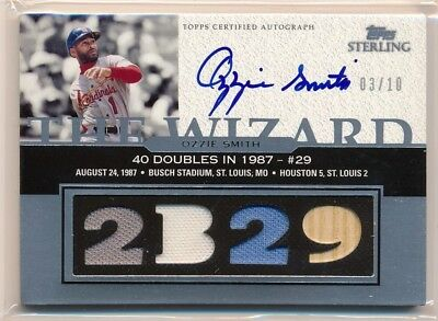 OZZIE SMITH 2006 Topps Sterling Moments AUTO QUAD BAT JERSEY 03/10 CARDINALS HOF