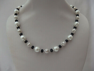 White Pearl and Black Faceted Glass and Silver Filigree Bead Necklace