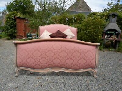 French  Vintage Feminine Double Louis Xv Revival Sleigh Bed