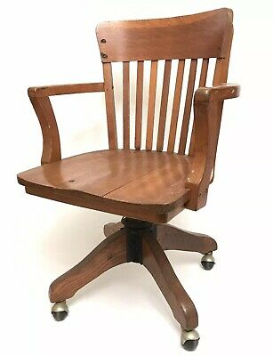 Vintage Heywood Wakefield Office Chair Bankers Lawyers Doctors Wood Furniture