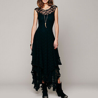 Womens Vintage Gothic Steampunk Lace Long Evening Cocktail Formal Tiered Dress