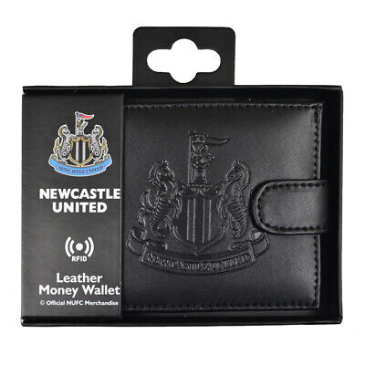 Newcastle United Fc Debossed Crest Rfid Real Leather Football Club Money Wallet