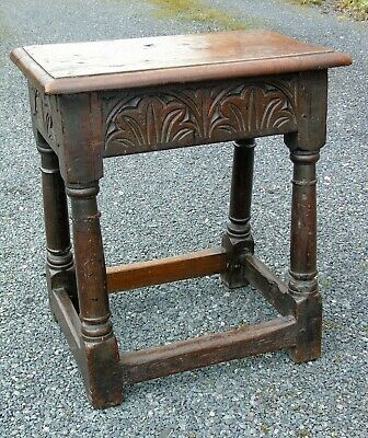 Mid 17th Century Carved Oak Joint Stool