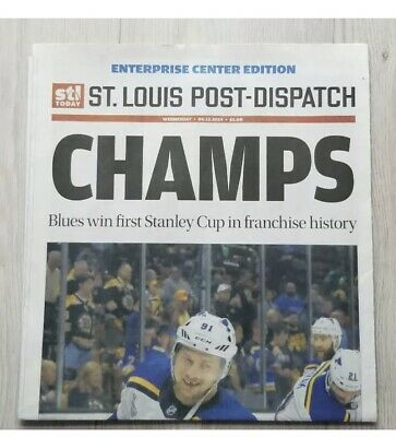 St Louis Blues 2019 Stanley Cup CHAMPS NEW Newspaper Post Dispatch FREE SHIPPING