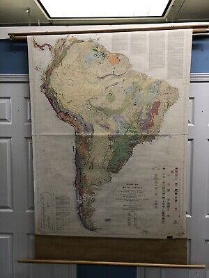 Vintage Rare Large Wall Geologic Map South America Brazil Argentina Peru 1950