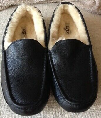 e43217720e1 UGG ASCOT BLACK Leather Sheepskin Slippers Moccasin Us 12 Eee Wide ...
