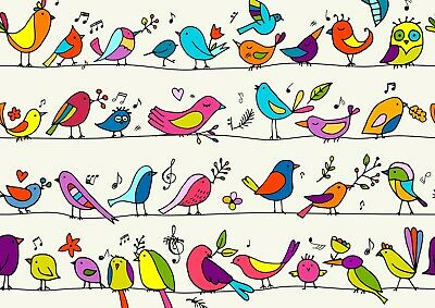 A3| Cartoon Birds Poster Size A3 Cute Pretty Kids Drawings Poster Gift #15794