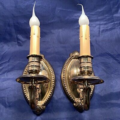 Vintage heavy gilded brass sconces with original patina Rewired 73B