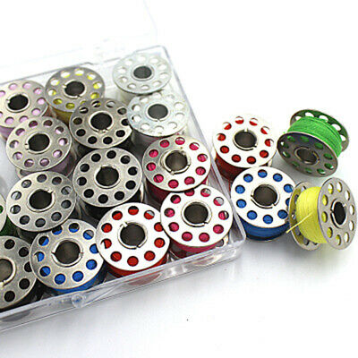 20 Colors Metal Sewing Machine Bobbins+Sewing Thread With Storage Box New